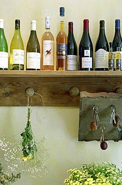 Wine bottles on a shelf at a hotel, Drome, France, Europe