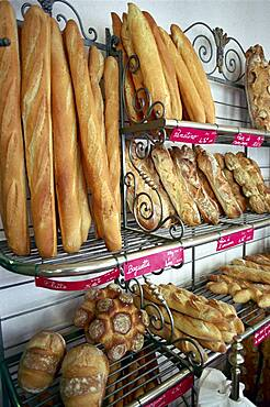 Baguettes and loafs of bread at a bakery, Drome, France, Europe