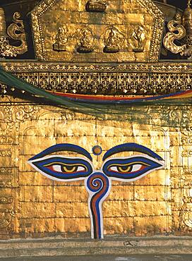 Buddha's eyes in a temple, Kathmandu, Nepal, Asia