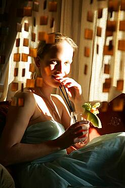 Young woman in a bar, Kreuzberg, Berlin, Germany