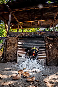 Copra drying in the oven, Malekula, Vanuatu, South Pacific, Oceania
