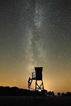 Milky Way over the Spreewald in front of Jägerstand silhouette, Germany, Brandenburg, Spreewald