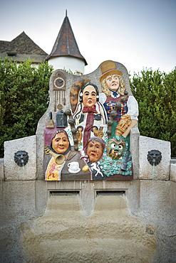 Fountain in front of Upper Castle in Immendingen, Tuttlingen district, Baden-Württemberg, Danube, Germany