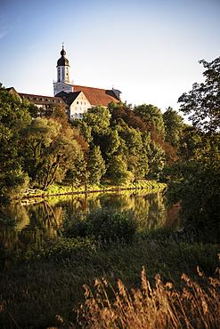 View over Danube to old town with Christ Church, Neuburg an der Donau, District of Neuburg-Schrobenhausen, Bavaria, Germany
