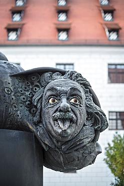 Albert Einstein Fountain in Ulm, Danube, Swabian Alb, Baden-Württemberg, Germany