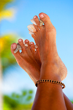 Feet of woman wearing an ankle ornament and seashells between her toes, Antigua, Caribbean.