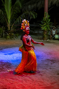 Polynesian dance performance during the 'Pacifica' show at the Tiki Village cultural center, Moorea, Windward Islands, French Polynesia, South Pacific