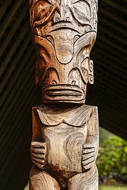 Large wooden tiki on display at the Te Tumu Cultural Center, Tekoapa, Ua Huka, Marquesas Islands, French Polynesia, South Pacific