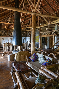 Stylish interior of the lounge area in the Kivu Paradis Hotel Resort on the banks of Lake Kivu, Nyamyumba, Western Province, Rwanda, Africa