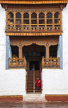 A Bhuddist monk at Punaka Temple in Bhutan.