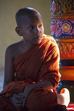 A young Buddhist monk in the temple, Preah Prosop, Mekong River, Kandal, Cambodia, Asia