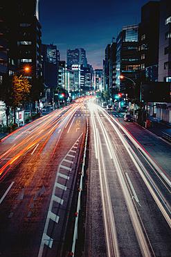 Long shot of rush hour car traffic in Osaka, Japan