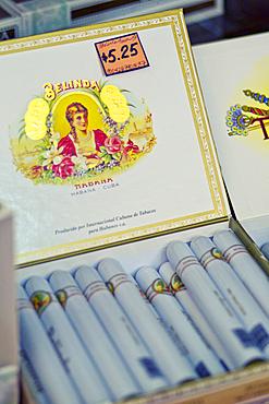 Detail of Cuba Cigars in a box in Havana, Cuba