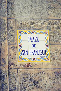 Mosaic street sign Plaza de San Francisco made of tiles in Habana Vieja, Havana, Cuba