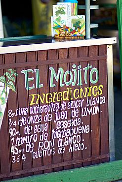 Detail of an outdoors Mojito bar on the beach of Cayo Blanco, Cuba