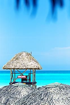 View at sea and lifeguard house in Varadero, Cuba
