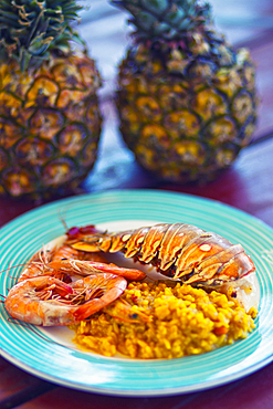 Colourful plate with lobster tail and shrimps in an outdoor restaurant on Cayo Blanco, Cuba