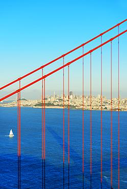 View of Golden Gate Bridge and financial district, San Francisco, California, USA