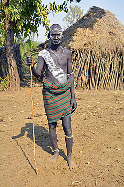 Ethiopia; Southern Nations Region; Mago National Park; lower Omo River; young man from the Mursi people;