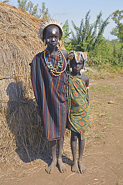Ethiopia; Southern Nations Region; Mago National Park; lower Omo River; two girls from the Mursi people;