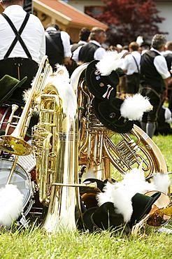 Bavarian brass music and Brautum Mustikfest, Siegsdorf, Chiemgau, Bavaria, Germany