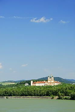 View over Danube river to Melk Abbey, Wachau valley, Lower Austria, Austria