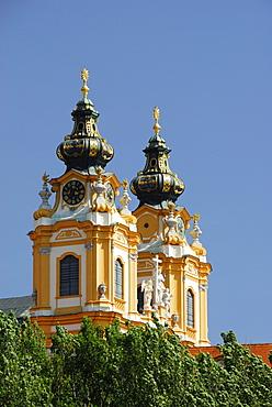 Monastery church, Melk Abbey, Wachau valley, Lower Austria, Austria