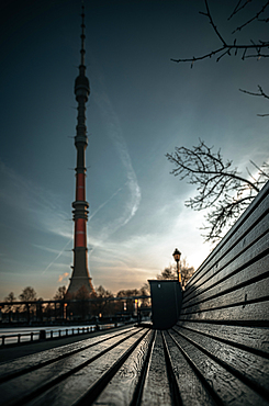 View of the Ostankino TV tower from the Ostankinskiy Pond in Moscow, Russia