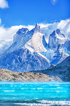 View of Horns of Paine mountains and Lake Pehoe, Torres del Paine National Park, Chile, South America