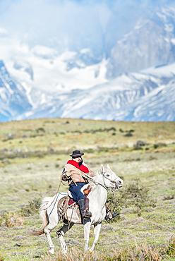 Cowboy on horseback, Torres del Paine National Park, Chile