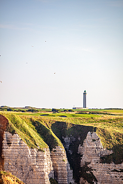 Lighthouse on the Alabaster Coast at Étretat, Normandy, France.