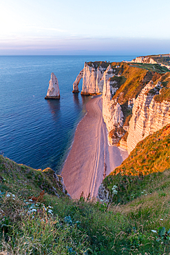 Porte d'Aval rock arch and the Aiuille rock needle on the Alabaster Coast near Étretat, Normandy, France.