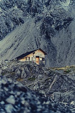 Winter storage on a mountain near Lünersee, Vorarlberg, Austria, Europe