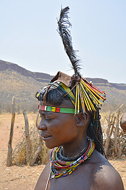 Angola; in the western part of the province of Cunene; Mucohona woman with elaborate head and neck jewelry; small ethnic group in the southwest of Angola