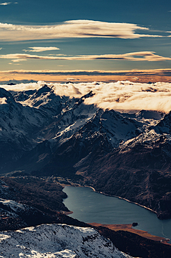 View of Maloja and Lake Sils in the Engadin from the Corvatsch Glacier, Engadin, Graubünden, Switzerland, Europe