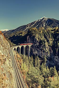 Train on the Landwasser Viaduct in Graubünden, Switzerland, Europe