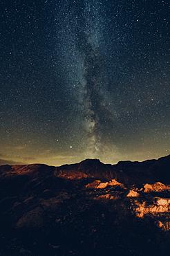 Milky Way galaxy in the mountains in Raetikon, Vorarlberg, Austria, Europe