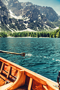 Boat trip on Lake Braies in the middle of the Dolomites in South Tyrol, Italy, Europe