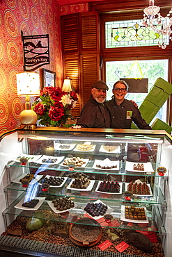 Owners Derek Ouellet and Cindy Healy of the Ridgway Confections Chocolate Shop, Seeley's Bay, near Kingston, Ontario, Canada, North America North