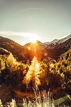 Sunset over the Maloja Pass, Engadin, Grisons, Switzerland, Europe