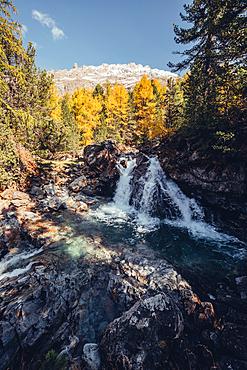 Waterfall near the Morteratsch Glacier in Engadin, Grisons, Switzerland, Europe