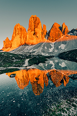 Sunset Three Peaks in the Sesto Dolomites, South Tyrol, Italy, Europe;