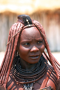 Angola; southern part of Namibe Province; Portrait of a Muhimba Woman; traditional hair styling; Strands of hair stuck together with red earth and fluffy fur; Leather chokers; Skin tinted with red earth