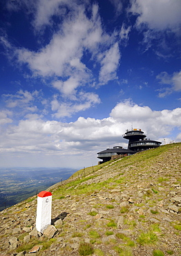 View at the weather station on the summit of the Schneekoppe, Bohemian mountains, Lower Silesia, Poland, Europe