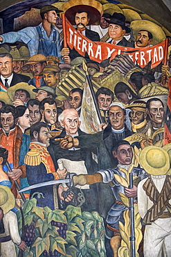 Diego Rivera's cycle of murals Mexico en la historia in the national palace of Mexico City, here a detail of El campesino oprimido (1935), Mexico D.F., Mexico