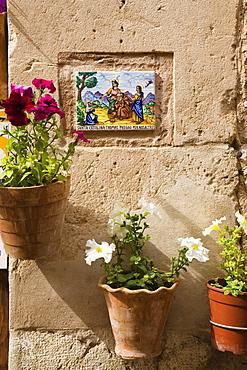 Ceramic tile with Saint Catalina on a wall at Valldemossa, Tramuntana Mountains, Mallorca, Balearic Islands, Spain, Europe