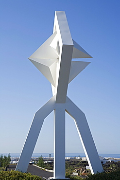 Giant Windmill sculpture from artist and architect Cesar Manrique, near Fundacion Cesar Manrique, Tahiche, Lanzarote, Canary Islands, Spain, Europe