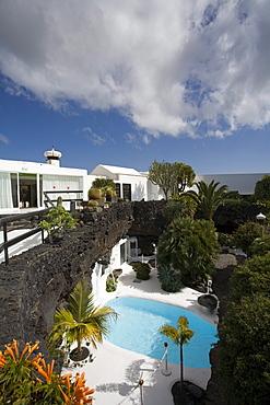 Pool, former residence of artist and architect Cesar Manrique, museum, Fundacion Cesar Manrique, Taro de Tahiche, UNESCO Biosphere Reserve, Lanzarote, Canary Islands, Spain, Europe