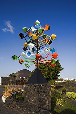 Sculpture by Cesar Manrique, former residence of artist and architect Cesar Manrique, museum, Fundacion Cesar Manrique, Taro de Tahiche, Lanzarote, Canary Islands, Spain, Europe