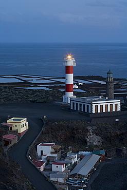 Old and new lighthouse, Faro de Fuencaliente and salines, fishing port, Punta de Fuencaliente, natural preserve, Monumento Natural de los Volcanes de Teneguia, UNESCO Biosphere Reserve, La Palma, Canary Islands, Spain, Europe